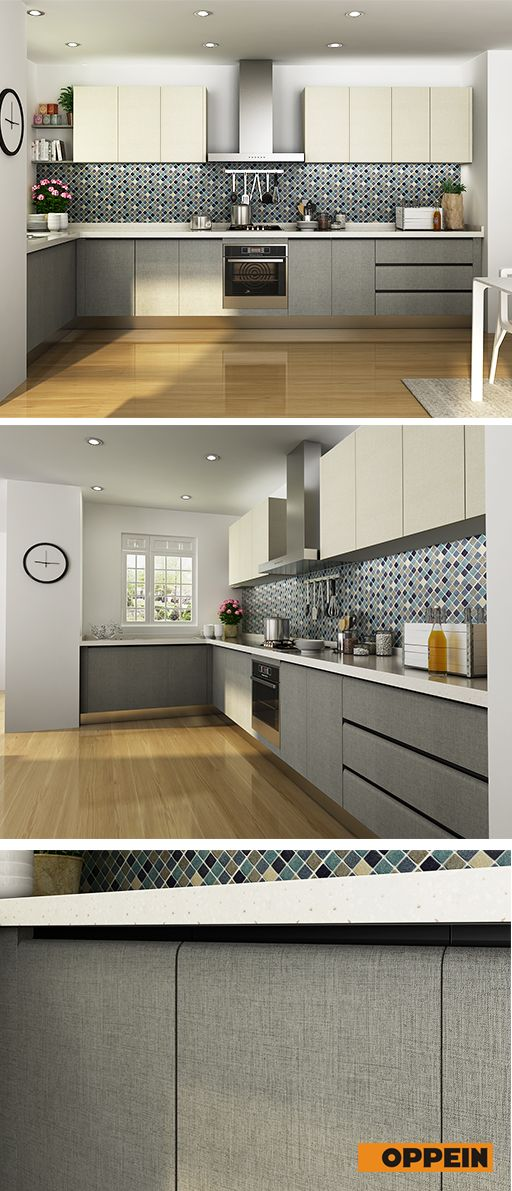 Modern Melamine Kitchen Cabinet in White & Grey Color in ...