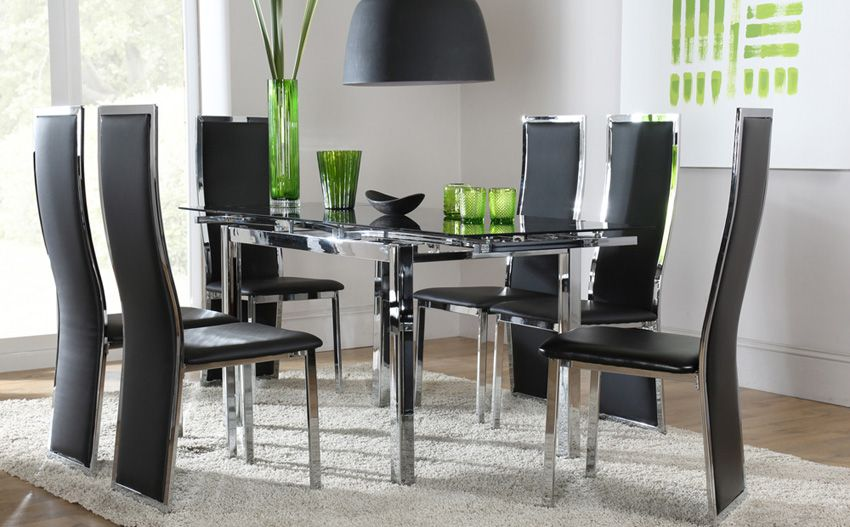Space Black Glass And Chrome Extending Dining Table  Flat Alluring Cheap Dining Room Chairs Set Of 6 Inspiration