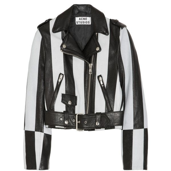 Acne Mape Striped Leather Biker Jacket Found On Polyvore Top