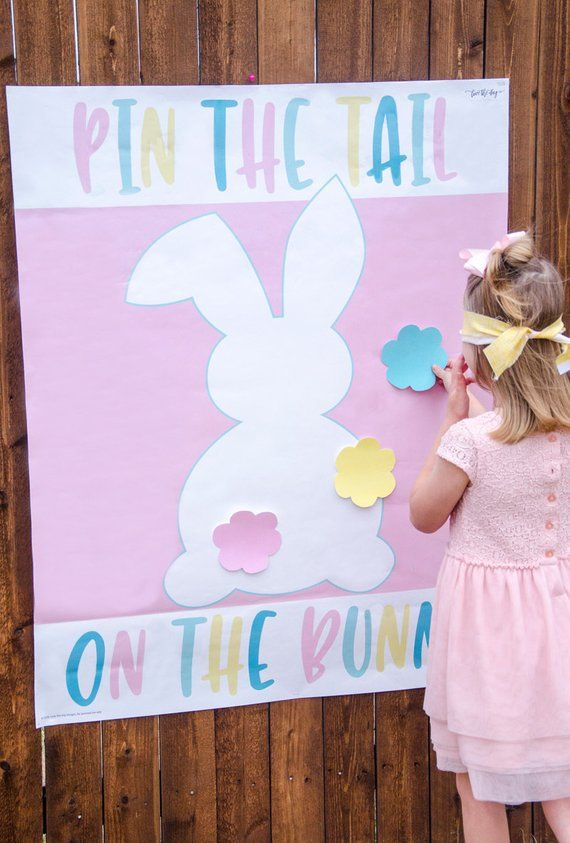 Pin The Tail On The Bunny Easter Printable Game (INSTANT DOWNLOAD