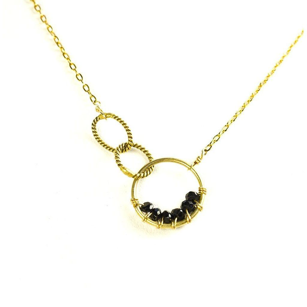 'Twisted Links' Necklace: Gold/Spinel
