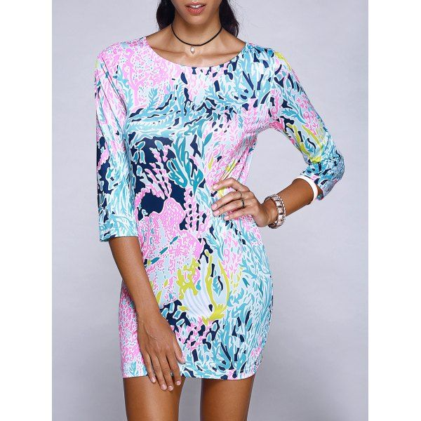 Chic Scoop Neck Abstract Plant Print Mini Dress For Women #CLICK! #clothing, #shoes, #jewelry, #women, #men, #hats, #watches