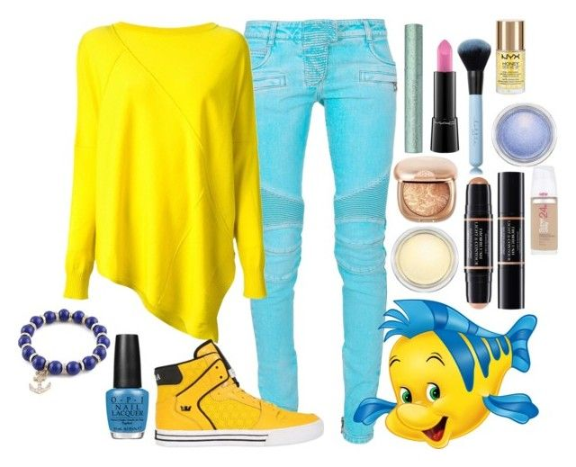 """Under The Sea  Flounder  Disneybound"" by axelyamary ❤ liked on Polyvore featuring Balmain, ISOLA MARRAS, OPI, Supra, MAC Cosmetics, Christian Dior and Maybelline"