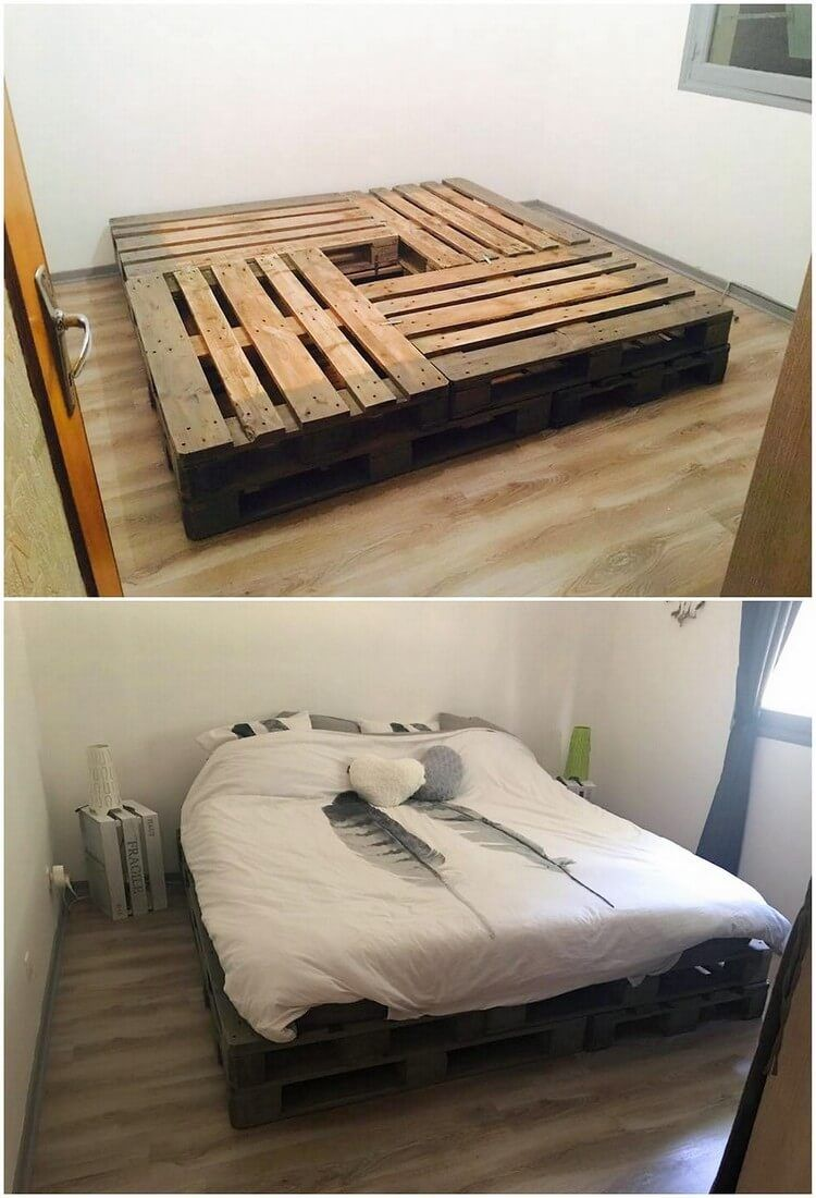 A unique pallet bed frame idea is all visible here for you