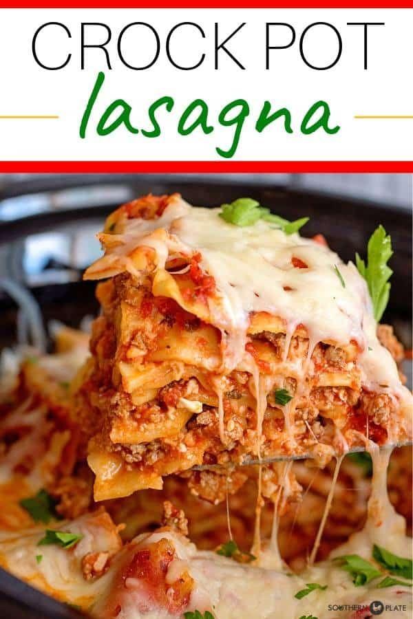 Crock Pot Lasagna - Southern Plate #crockpotlasagna