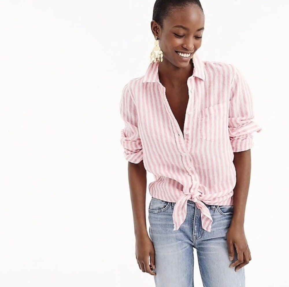47a7e12bea J. Crew Women Linen Shirt Tie-front Striped Button Down Long Sleeve Pink White  2  JCREW  Blouse
