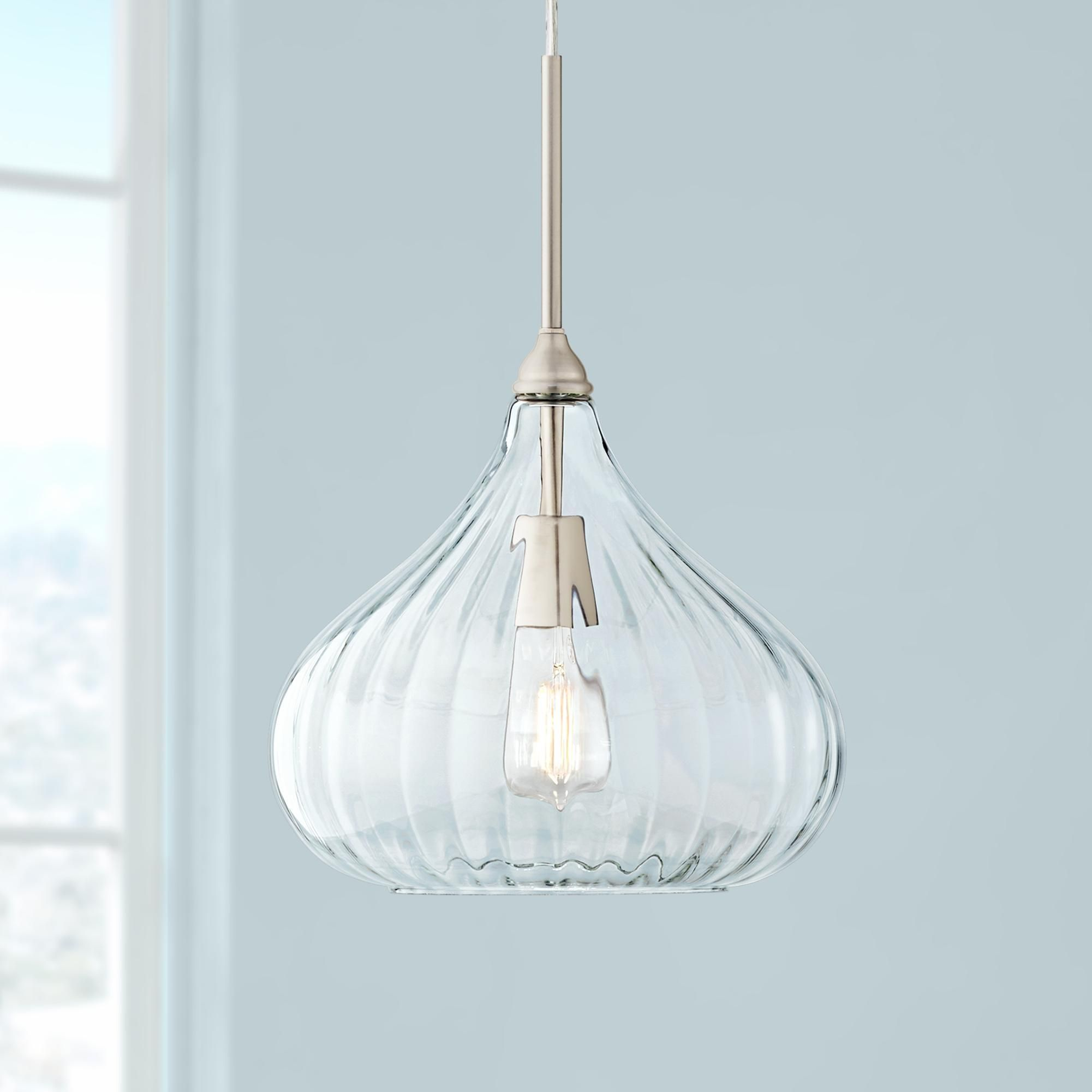 Major 12 And One Half Inch Wide Nickel And Clear Glass Led Pendant Light Beleuchtung Lampen Home Decor