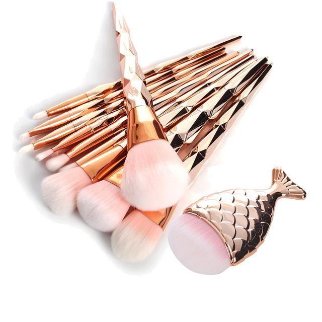 11Pcs Rose Gold Diamond Mermaid Tail Makeup Brush Set