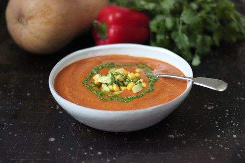 jamaican style curried pumpkin soup with coriander salsa
