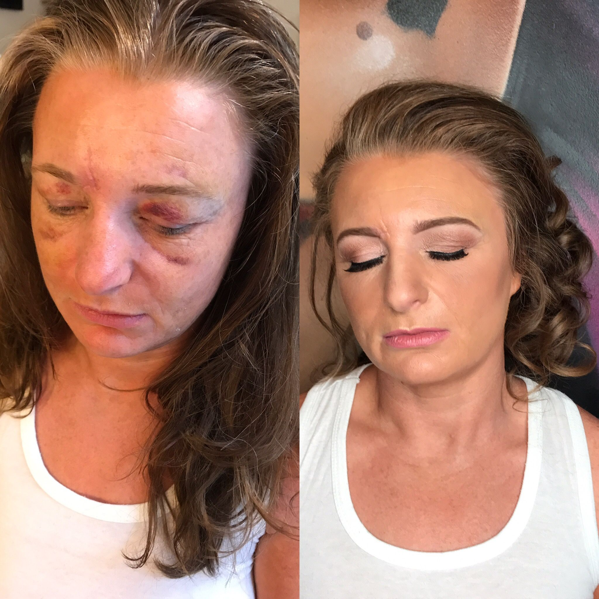Before & After Hair and makeup. Covering bruises with