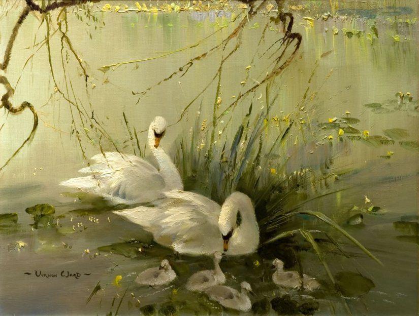 Старинные открытки с лебедями