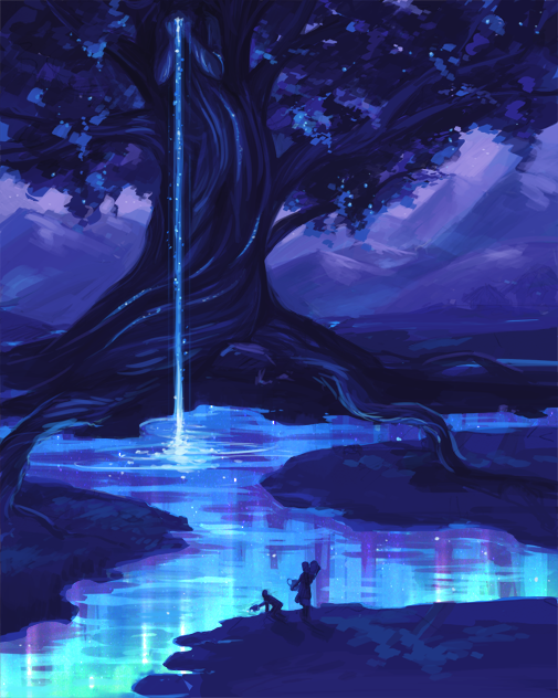 On the Banks of the Glowing River by skybrush Fantasy