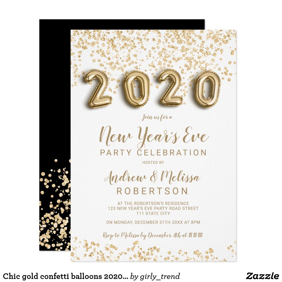Chic gold confetti balloons 2020 New Year's eve Invitation
