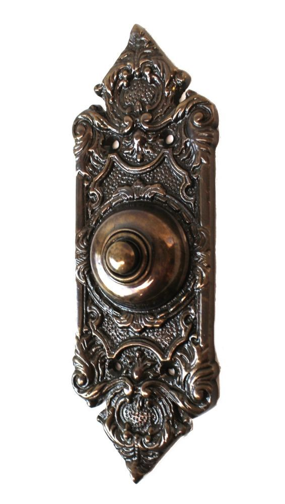 VICTORIAN GOTHIC REVIVAL STYLE BRASS FRONT DOOR BELL PUSH BUTTON BELL PUSHER CB7 Antiques