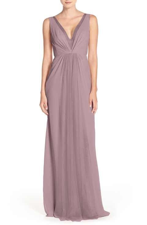Monique Lhuillier Bridesmaids Deep V-Neck Chiffon & Tulle Gown ...