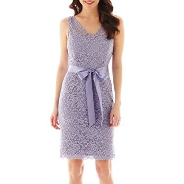 Simply Liliana VNeck Sleeveless Vback Lace Sheath JCPenney