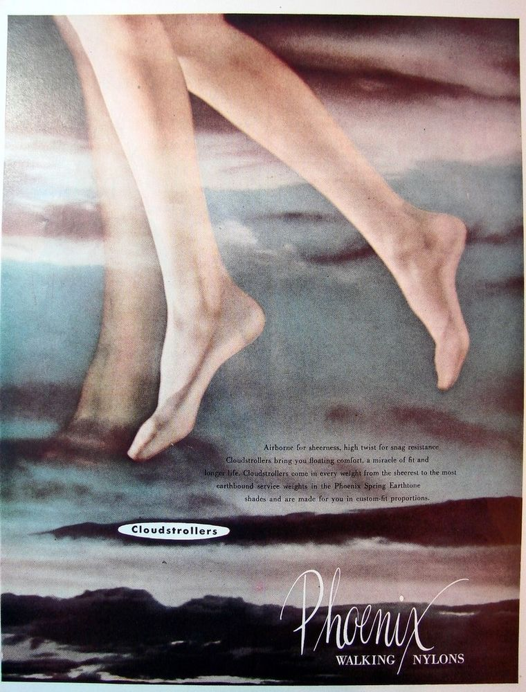 1951 PHOENIX NYLONS Stockings Clouds Wmns Vintage LINGERIE,DOBBS Mens Hats Ad