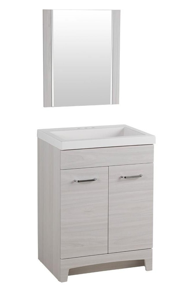 Perfect For The Modern Home The Glacier Bay 24 In Stancliff Vanity In An Elm Sky Finish And Solid Whi Bathroom Vanity Tops Vanity Wall Hung Bathroom Vanities