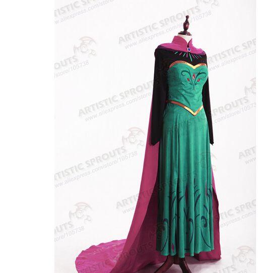 AE4 Adult Elsa Snow Queen Dress Frozen Disguise Costume Halloween Cosplay X-XXL
