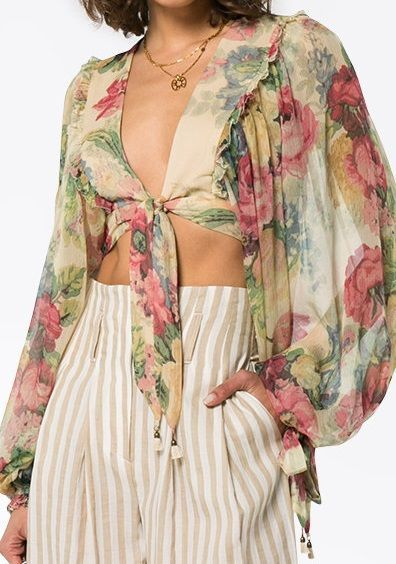 Clearance 100% Authentic Melody floral print cropped silk blouse - Multicolour Zimmermann Cheap Shop Offer Buy Cheap Low Cost Newest Online xDP7mQFHtY