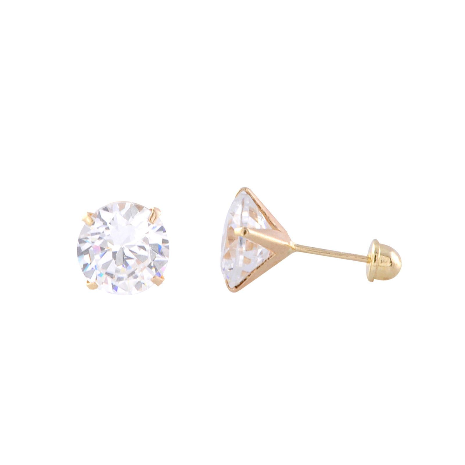 10k Yellow Gold Handmade Sculpted Cz Stud Earrings Round 4 Prong Martini Setting Cz Stud Earrings Stud Earrings Round Earrings
