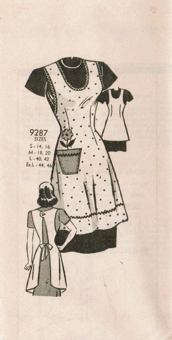 1940s Marian Martin 9287 UNCUT Vintage Sewing Pattern Misses' Apron Size Extra Large