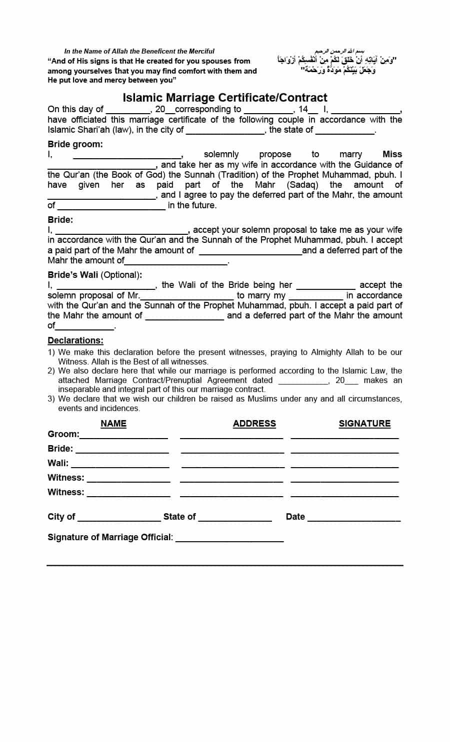 Marriage Contract Template Contract Template Marriage Templates
