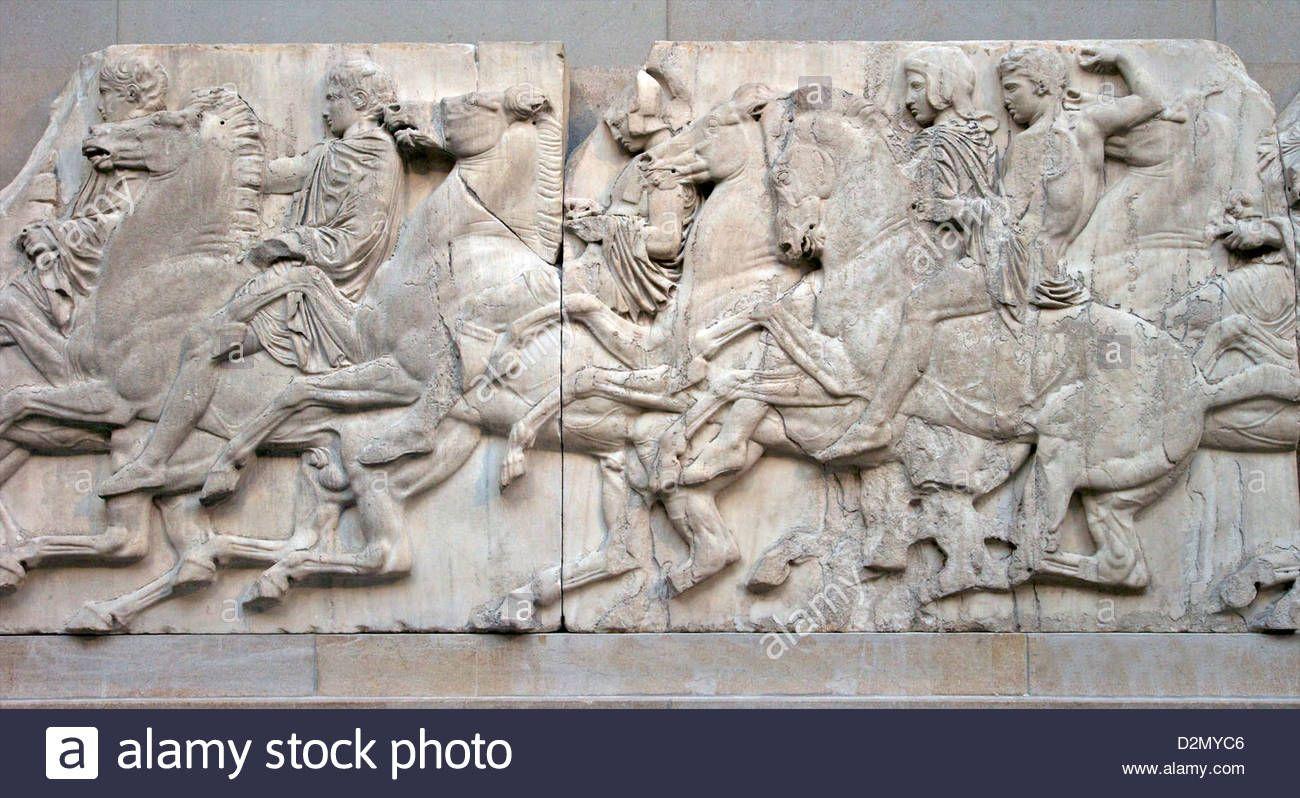 Horsemen Galloping North Frieze Parthenon British Museum London England Uk Gb British Isles D2myc6 From Alamy S Library Oudheid Hellenisme Sculpturen