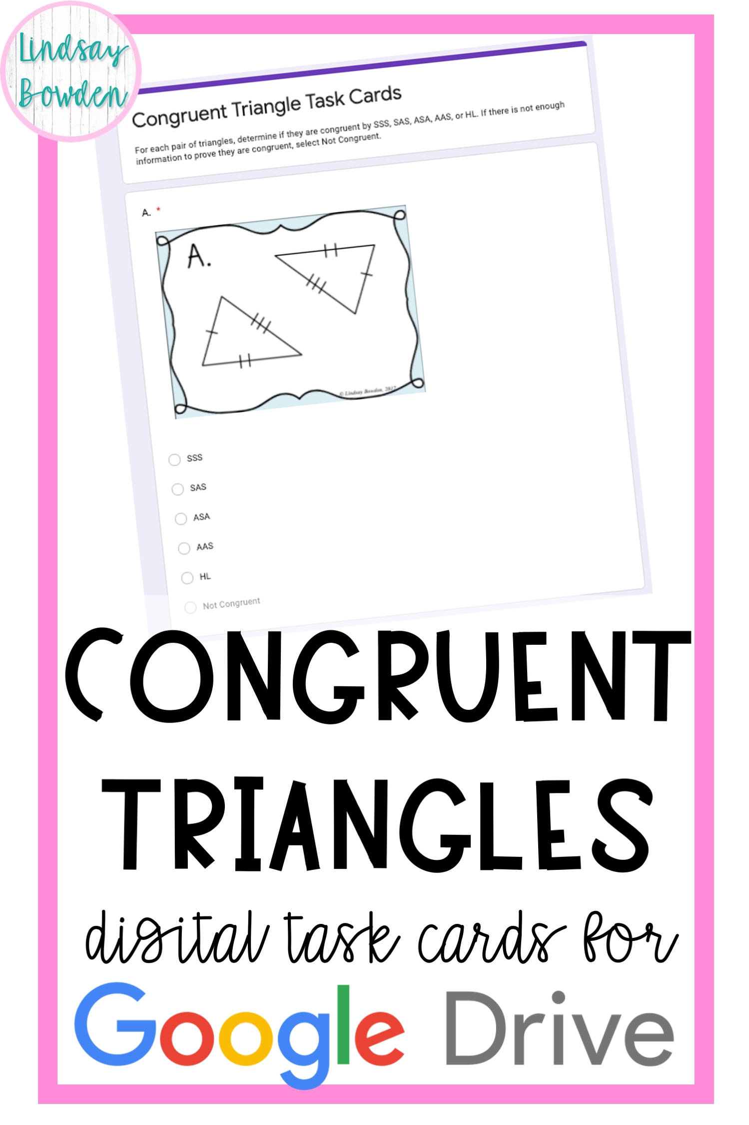 These Congruent Triangle Digital Task Card For