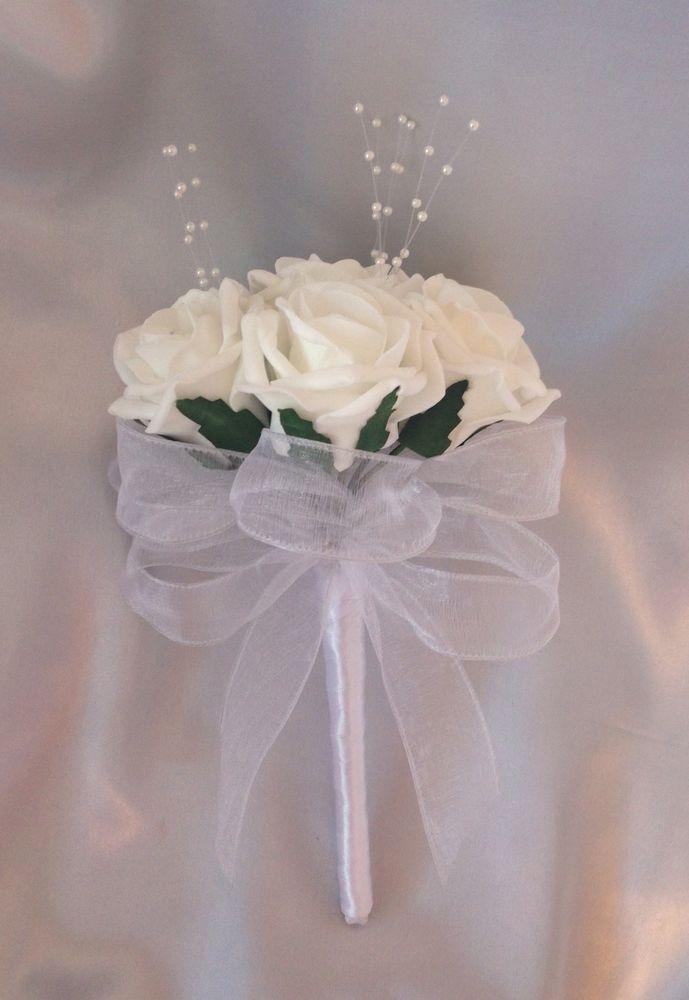 Artificial wedding flowers white foam rose flower girl wand bouquet ...