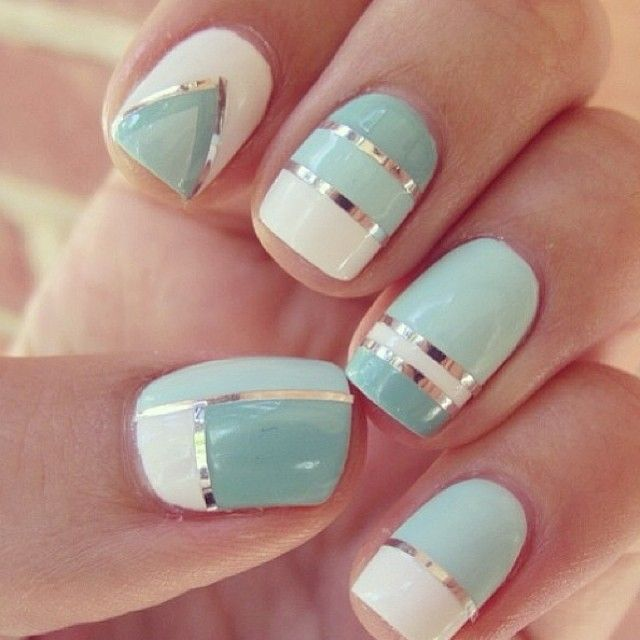 Sparkle & Shine nail nails design art geometric white turquoise silver lines fingers manicure