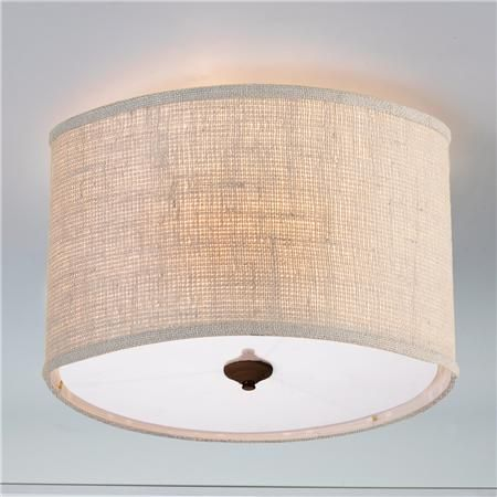 Burlap Drum Shade Ceiling Light  Cream. (16x16x10.5) 5 Canopy Product