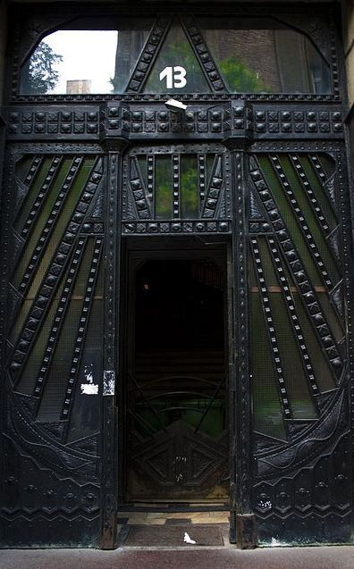 This Black Door With Dark Green Panels Is Amazing! The Raised Detail