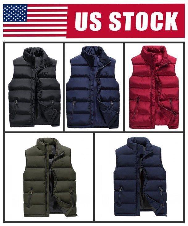 2df3aee793612 US Mens Winter Warm Vest Coat Sleeveless Puffer Outwear Zipper Padded Jacket   Coat  Jacket
