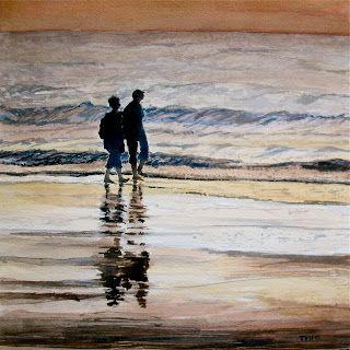 Aquarel wandeling langs de zee - Theo Van Hertbruggen