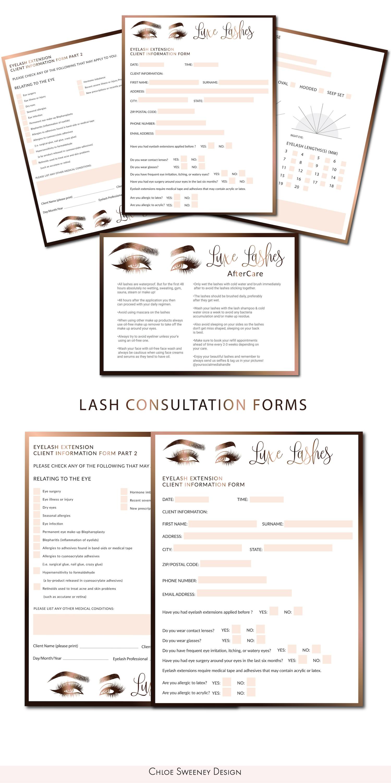 Lash Consultation Forms Lash Extension Forms Eyelash Care Card Lash Logo Eyelash Logo Lash Technician Forms La Eyelash Salon Eyelashes Eyelash Extensions