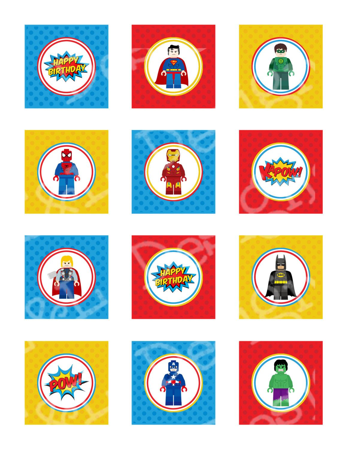 """SuperHero Birthday 2"""" Cupcake Toppers and Wrappers ..."""