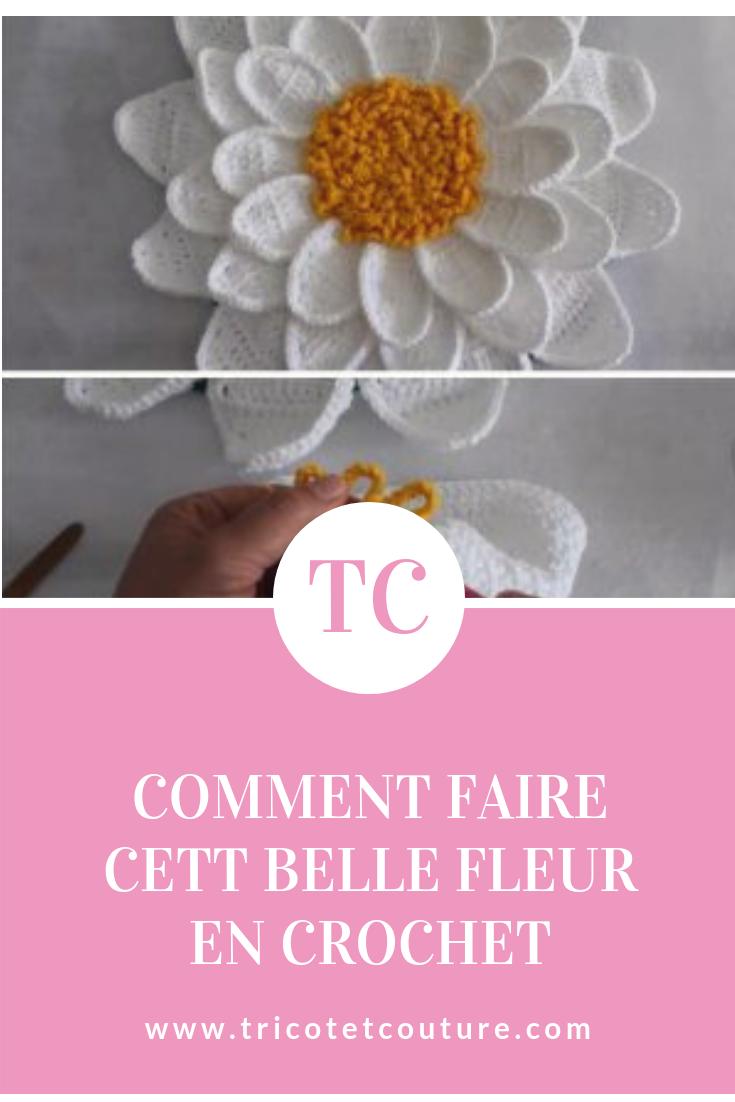 comment faire cett belle fleur en crochet   tricot   pinterest   crochet