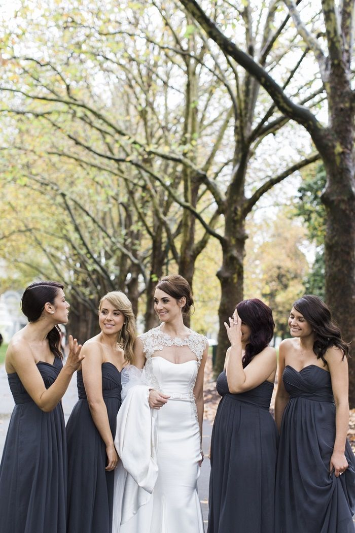 Dark Grey bridesmaid dresses for A Big Fat Greek Winter Wedding | I take you