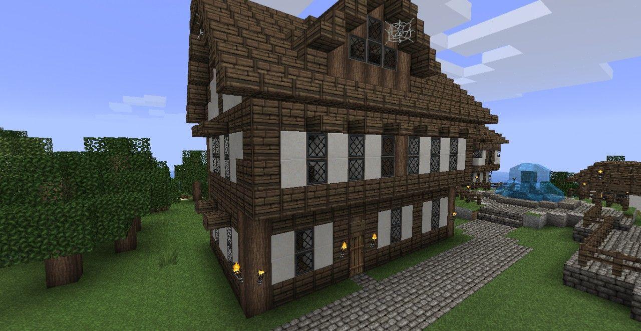 Minecraft Village House Medieval Seaside Village Town Minecraft Project Village House Design Village Houses Minecraft Medieval House