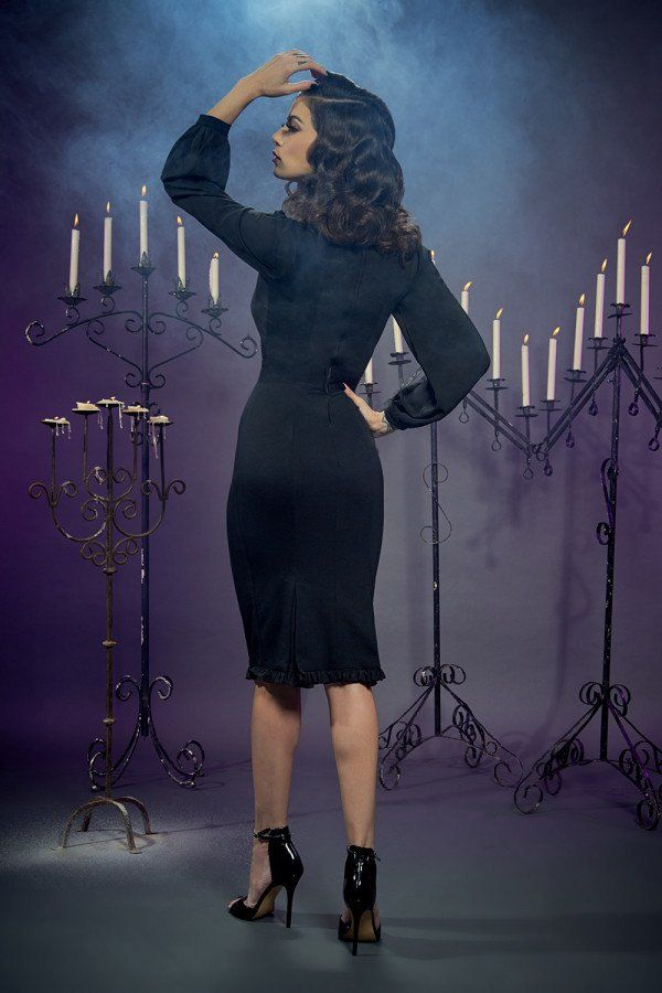 9233d79ef Aziza Dress in Black Ponte by Elvira Mistress of the Dark ...