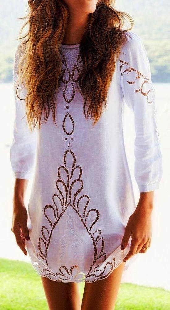 edd36504c0 3/4 Sleeves White Crochet Style Blouse Lace Dress, White Dress, Dress Skirt