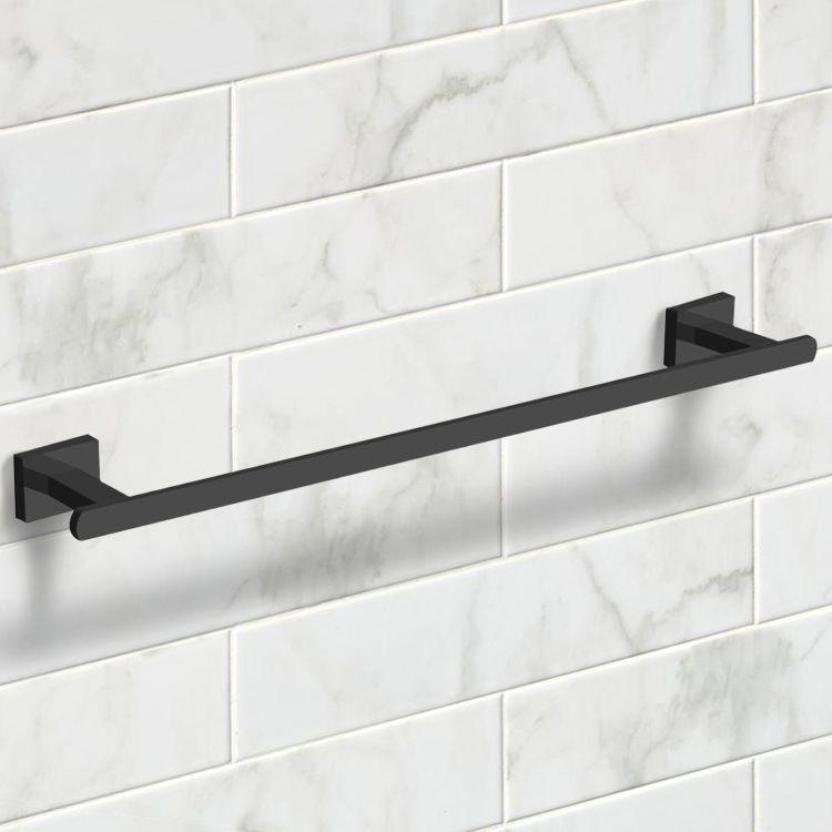 21 Inch Modern Matte Black Towel Bar   Modern bathroom ...