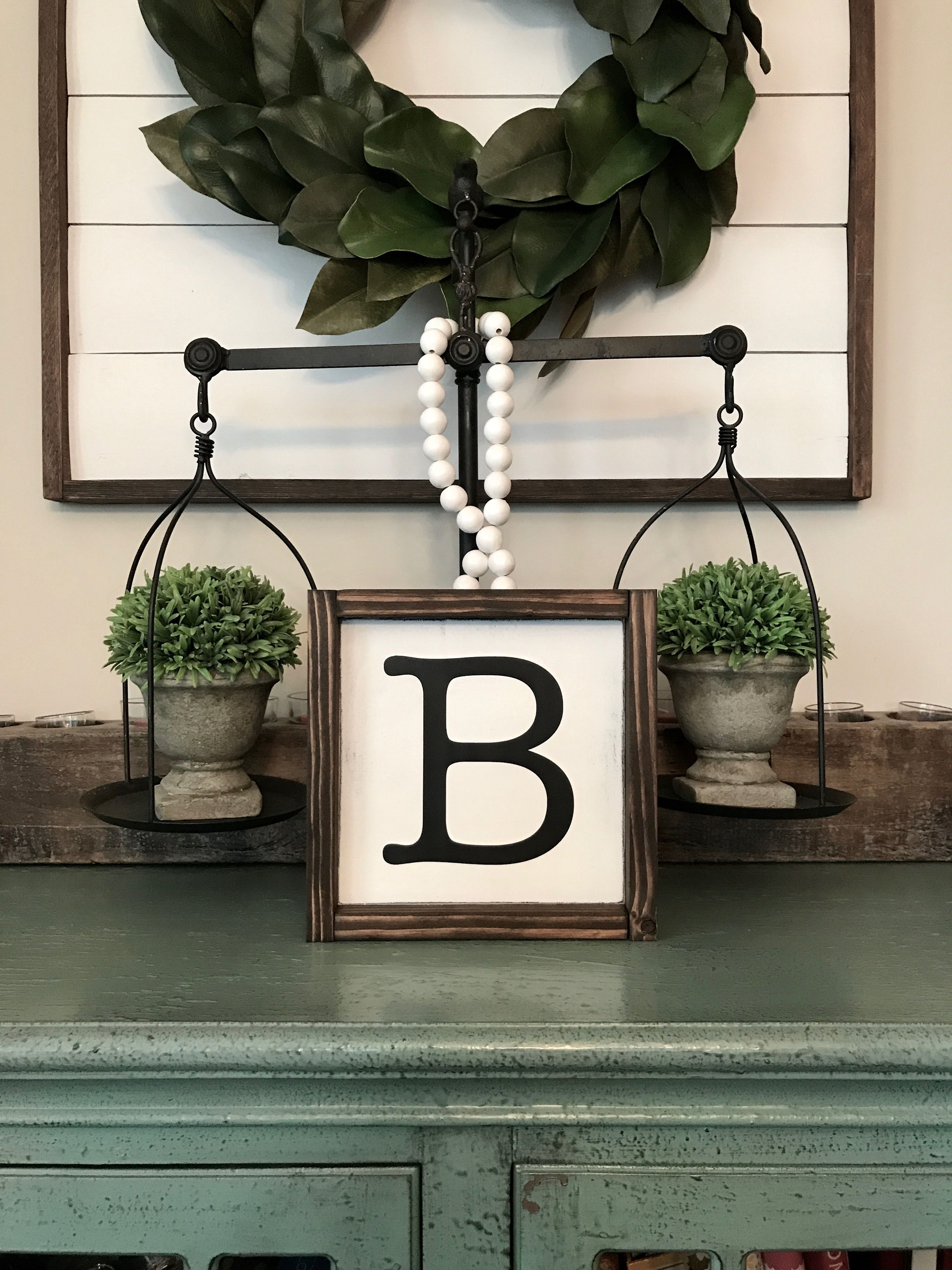 Family initial wood sign. Name sign. Nursery decor