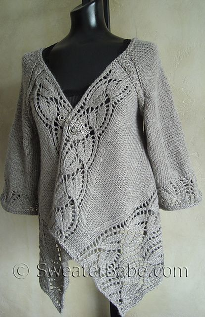 #112 Dramatic Lace Top-Down Wrap Cardigan pattern by SweaterBabe