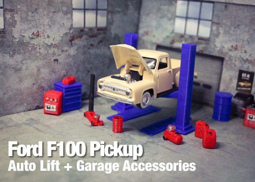 Ford f100 diecast model car garage diorama set 1 64 father for Garage ford chelles 77
