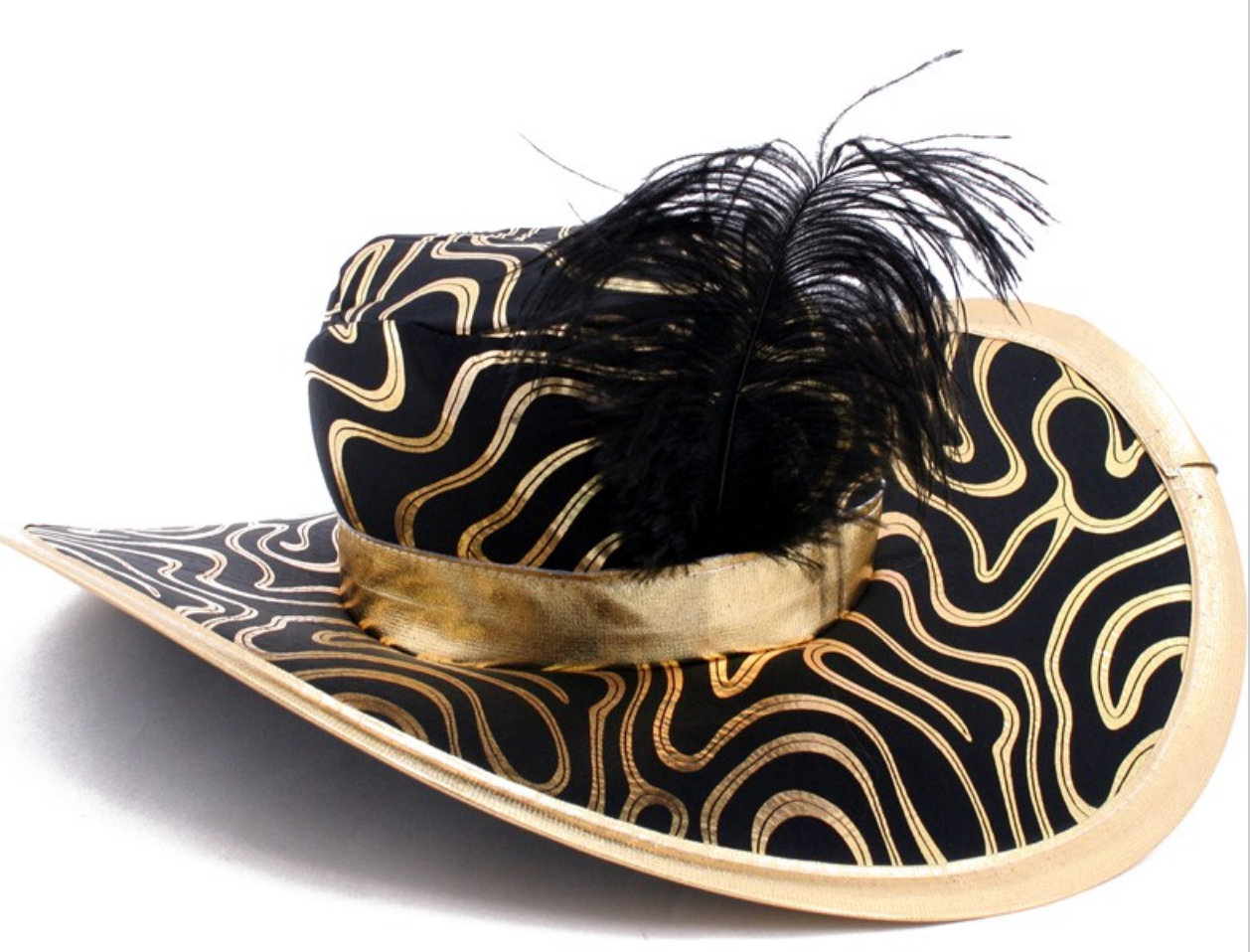 Pin By Photobooth Etc On Need A Prop Gold Hats Black Feathers Black Gold