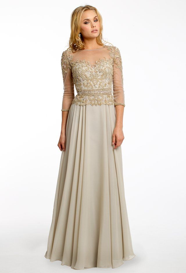 Beaded Long Sleeve Dress with Chiffon Skirt from Camille La Vie and ...