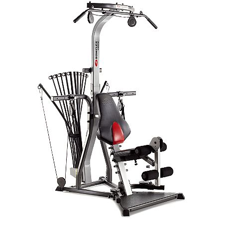 Bowflex Xtreme® SE  Home Gym - The machine footprint is 4.5x4', and they say the free space needed to use it is 8x6.5'. Well-rated. Relatively affordable.
