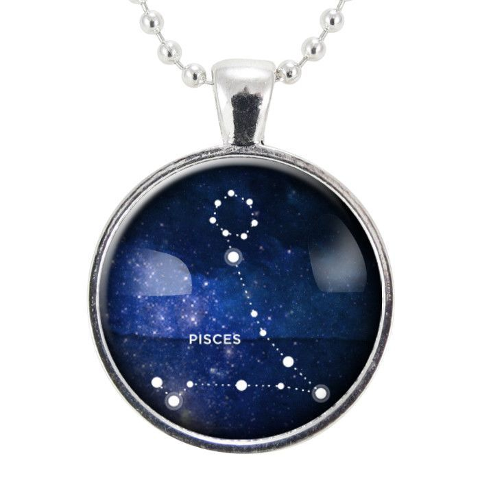 Pisces Zodiac Necklace, Constellation Jewelry, Astrology Star Sign Pendant